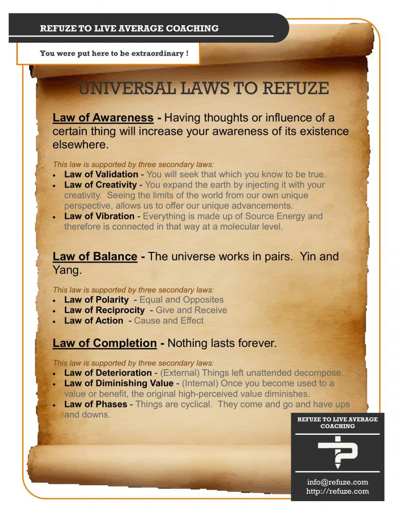 Universal Laws Of Refuze - Self-Actualization - Actualized